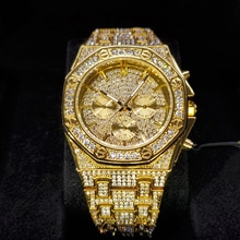 Hip Hop MISSFOX Mens Quartz Watch Waterproof Watches Chronograph Diamond Bling Iced Out Stainless St