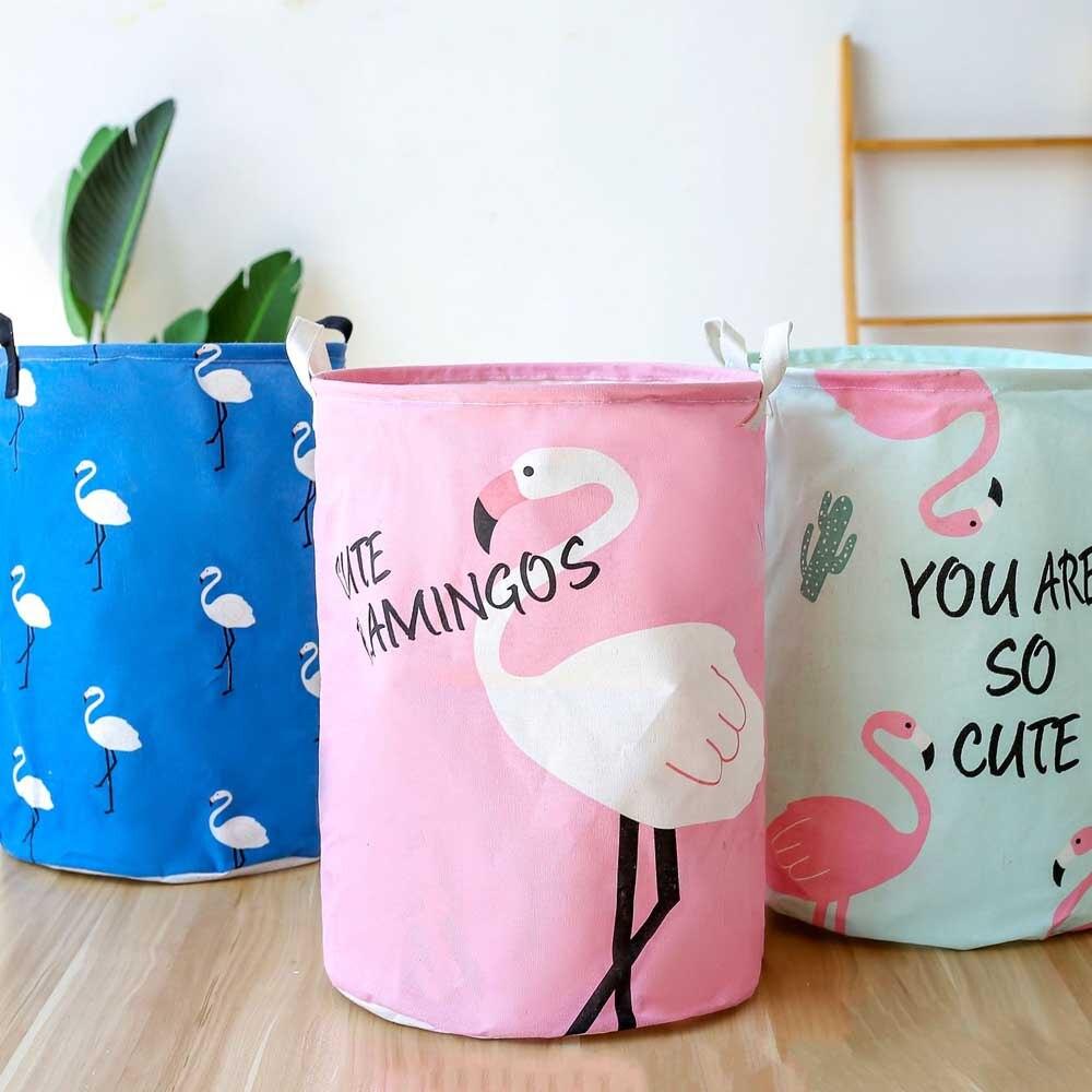 Cesta de ropa sucia plegable de flamenco rosa, cestas grandes de almacenamiento, Papelera para niños, juguetes, organizador de ropa, bolsa de cubo de lavandería con animales bonitos