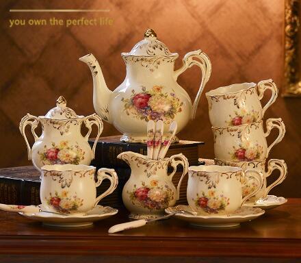 Yolife-طقم فنجان قهوة بورسلين عاجي ، سيراميك ملكي بريطاني ، إبريق شاي ، غلاية ، خدمة عالية ، 15 قطعة