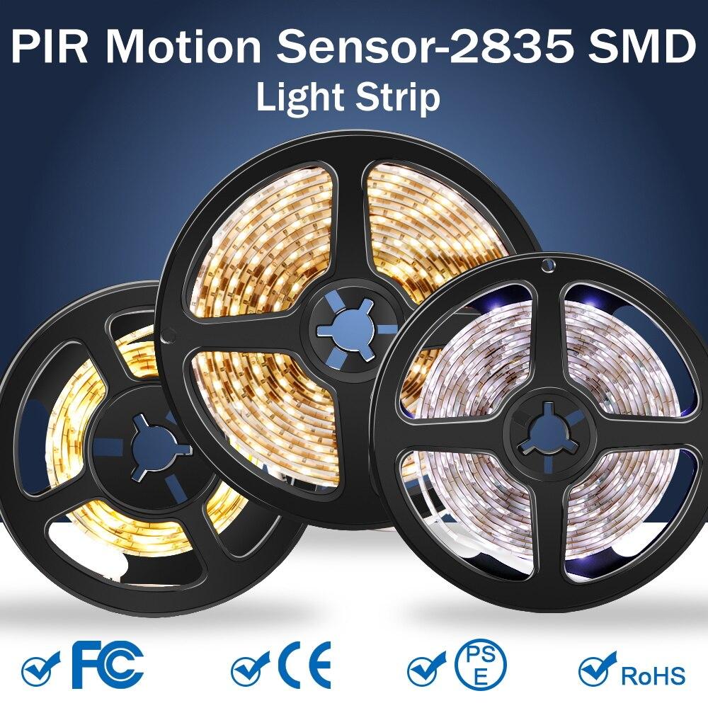 PiR Led قطاع مستشعر حركة ليد إضاءة الخزانة الشريط مرنة لاصق مصباح LED مصباح الخزانة خزانة غرفة النوم الإضاءة 2835SMD
