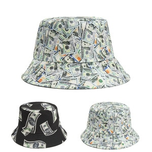 New Personality Hip-Hop Color Dollar Print Fisherman Hat For Men And Women Couples Hip-Hop Flat Cap Sunshade Bucket Hat