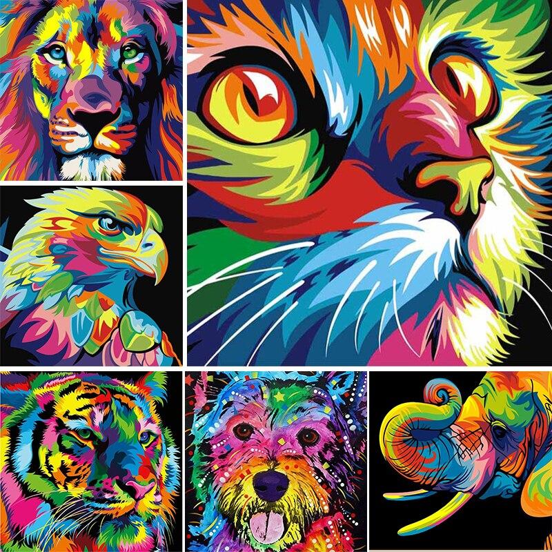 5D diy Алмазная картина животные собака и кошка вышивка крестиком набор Алмазная вышивка Лев и тигр мозаика картина Стразы домашний декор