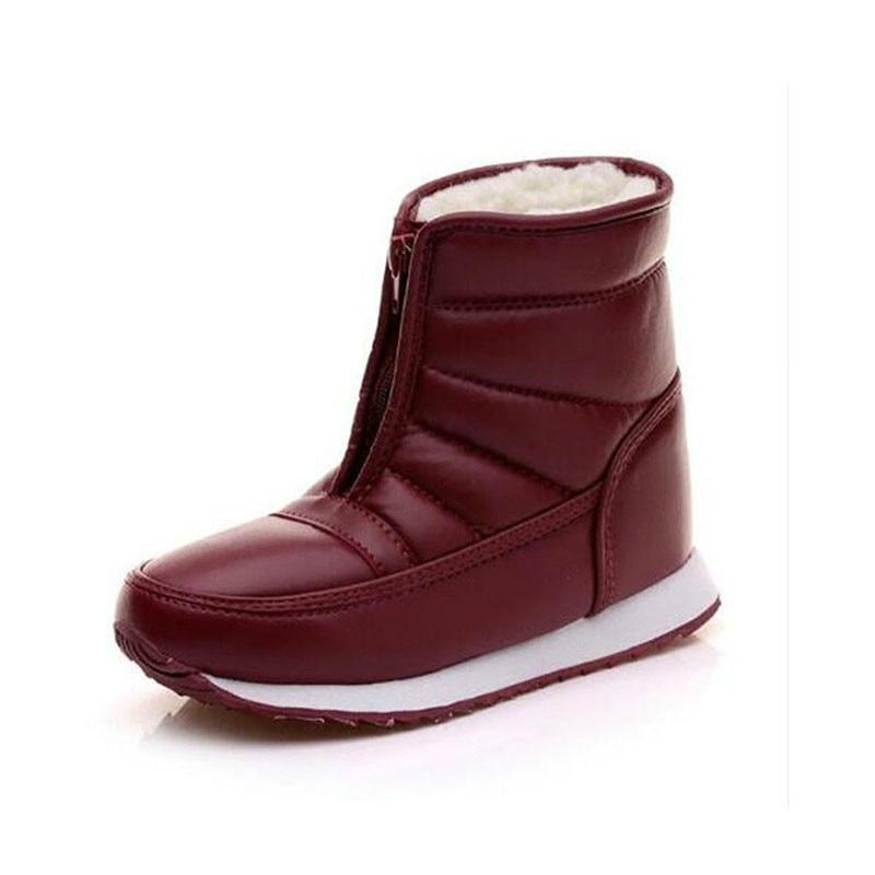 Botas de neve mulher preto tornozelo botas de inverno mulher à prova dwaterproof água plana 2019 vermelho botas femininas de inverno
