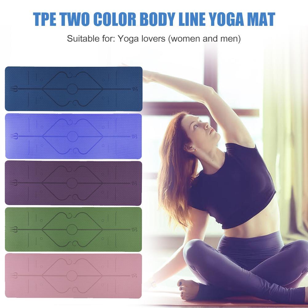TPE Yoga Mat Dual Color Non-slip Carpet Mat with Position Line for Beginner Gym Fitness Equipment Gymnastics Mats 1830x610x6mm