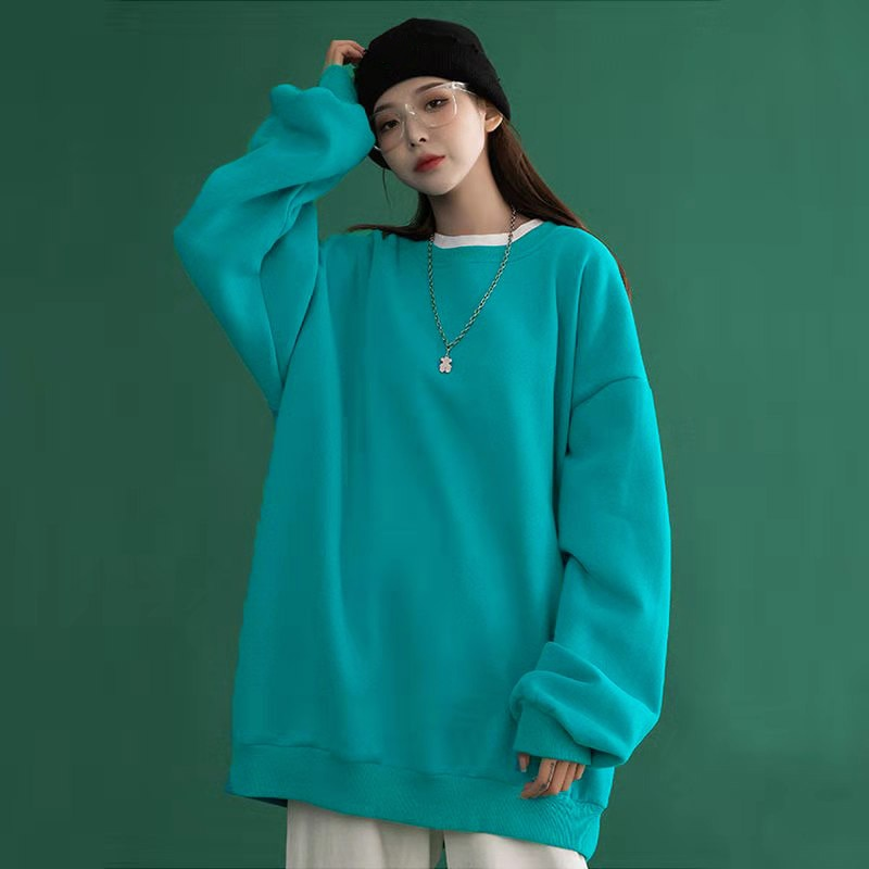 2021 Korean Spring Top Simple Solid Color Long Sleeve Sweater College Style Loose Round Neck Women's