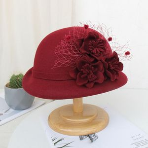 Womens 1920s Vintage Faux Felt Bucket Hat with Flower Mesh Veil Embellished Winter Autumn Prom Church Trimmed Bowler Top Cap