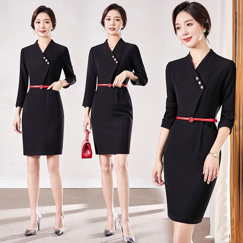 Business Wear Dress Fashion Temperament Goddess Style Hotel Front Desk Reception Workwear Jewelry St