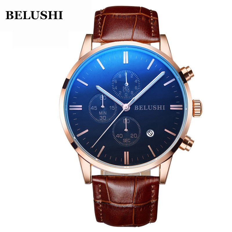 Reloj resistente al agua 50M reloj de negocios para hombres reloj de pulsera de marca Belushi reloj de cuarzo Casual para hombres reloj de cuero fecha Masculino