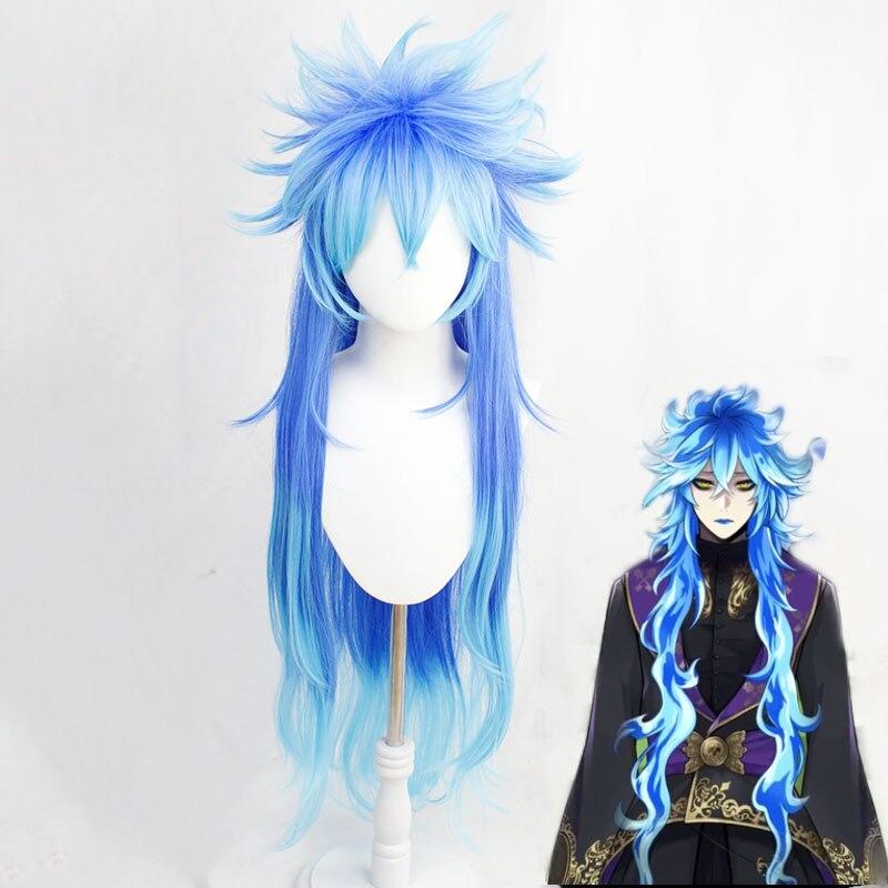 Twisted-Wonderland Idia Shroud azul Color mezclado largo Cosplay pelo sintético resistente al calor Halloween carnaval + gorro de peluca gratis