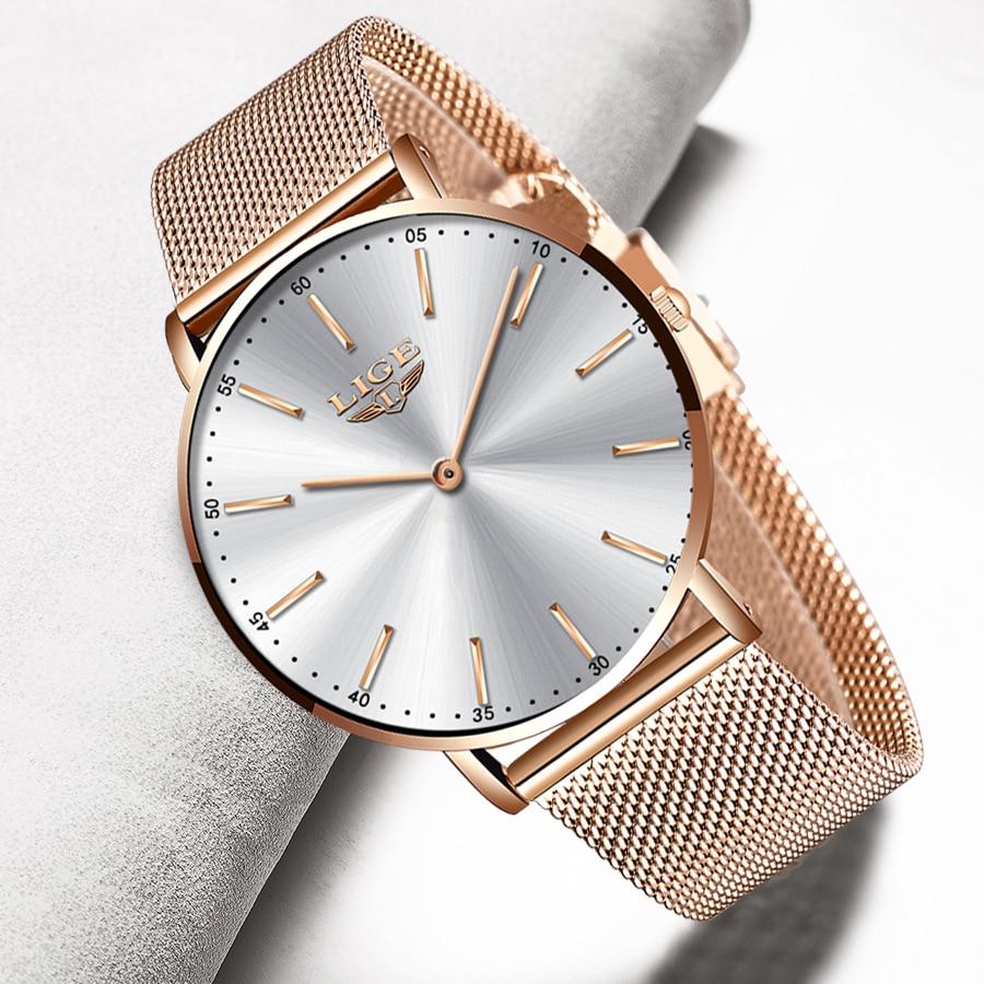 2020 New Rose Gold White Women Watch Casual Quartz Watches Ladies LIGE Top Brand Female Wrist Watch Girl Clock Relogio Feminin enlarge