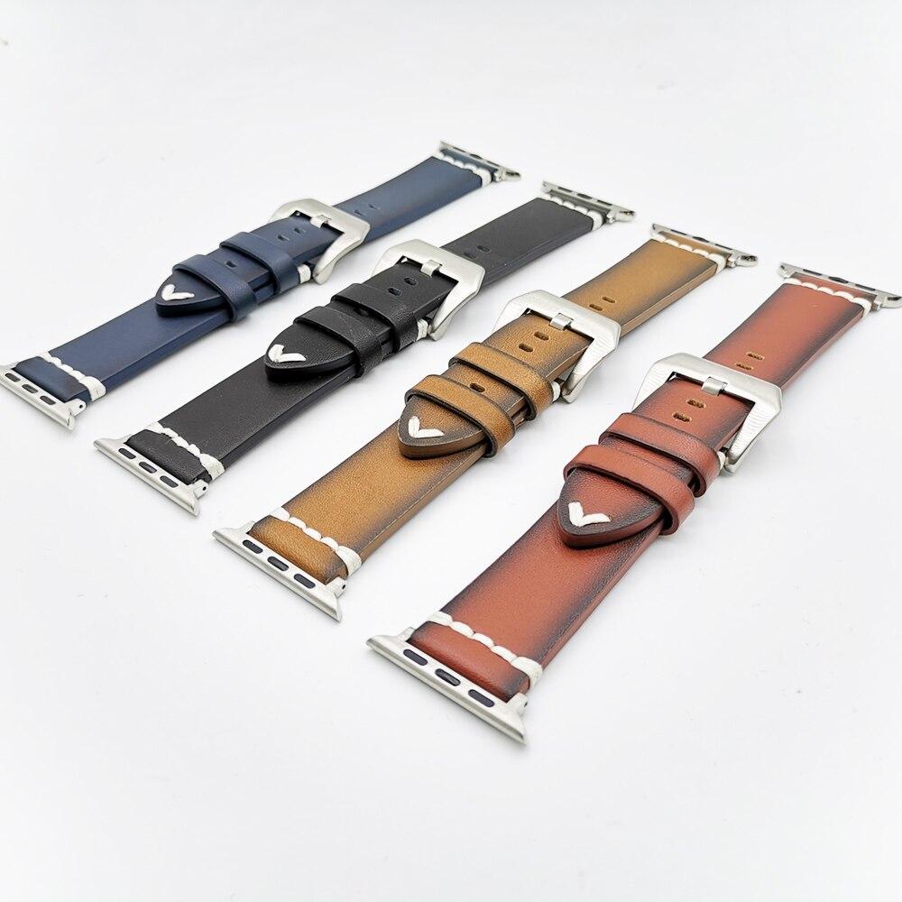 Pulseira de couro para apple watch 5/4 44mm 40mm série 3/2/1 pulseira 42 mm 38 mm crazy horse pulseira para iwatch banda pulseira de relógio