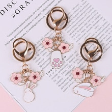1 pc bonito esmalte flor asa coelho chaveiro para mulheres menina jóias bonito animal carro bolsa chave titular decoração k127