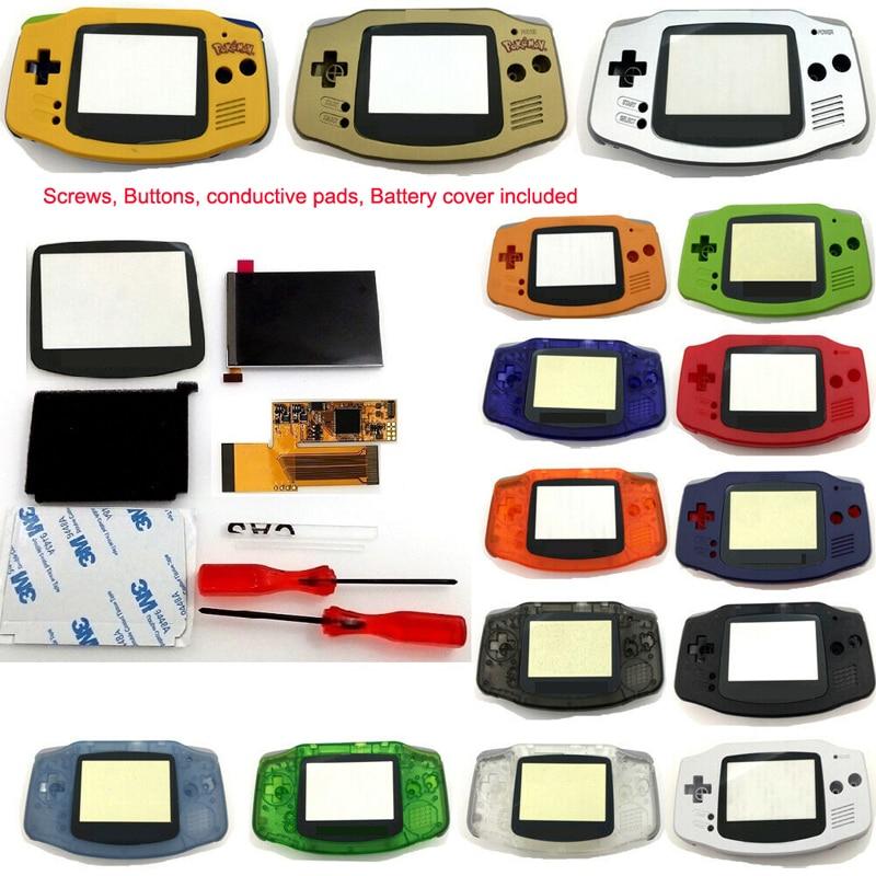 شاشة GBA IPS LCD عالية السطوع مع 10 مستويات للإضاءة الخلفية لوحدة تحكم Gameboy Advance V2 مع مبيت مقطوع مسبقًا