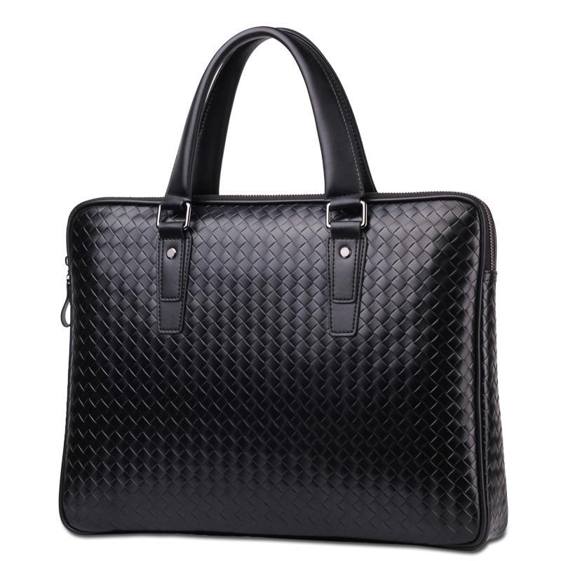 New men's briefcase handwoven office business bag laptop one shoulder slanting cross bag business trip briefcase