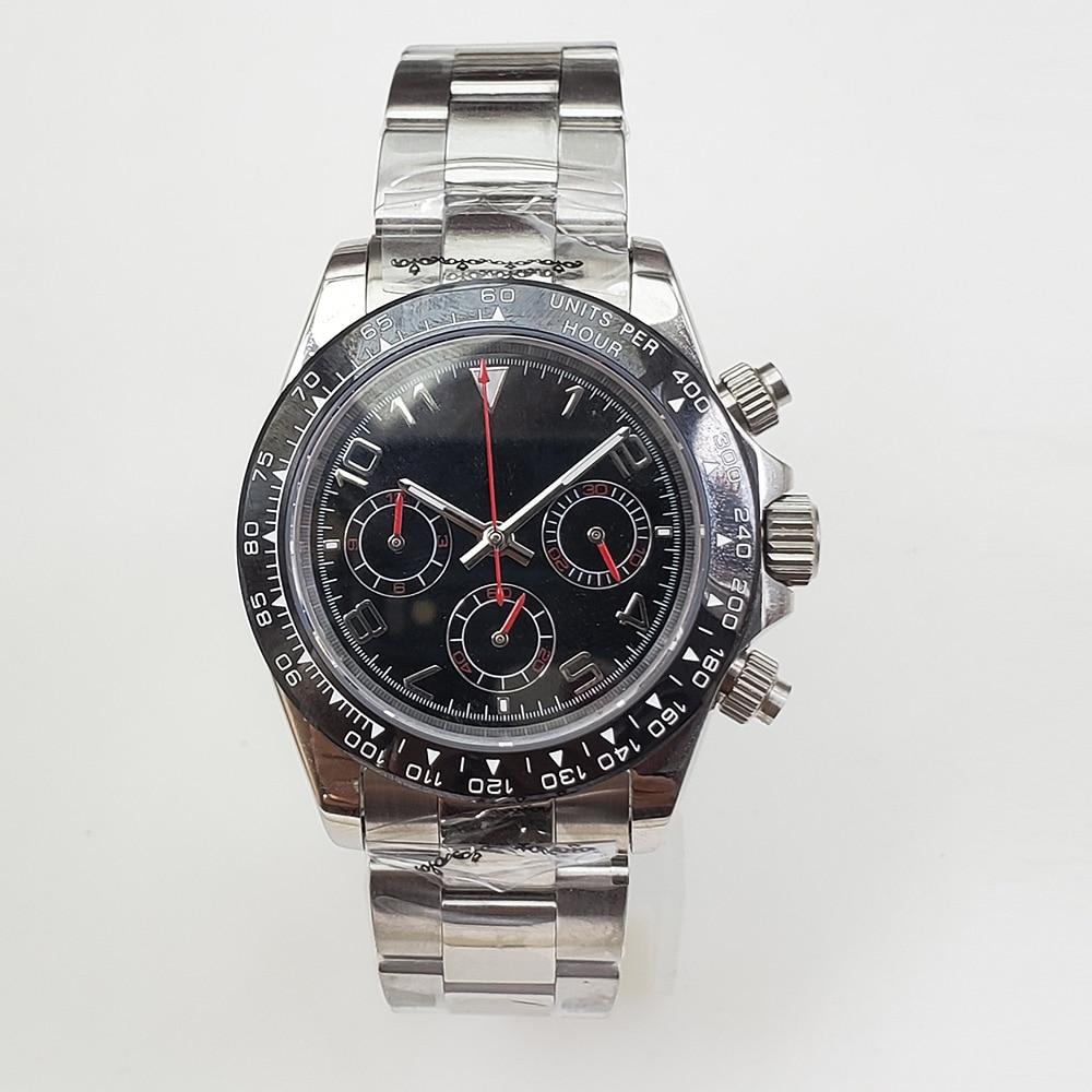 Bomax marina-ساعة كوارتز للرجال ، ساعة يد رجالية عالية الجودة VK63 ، مؤشر مضيء ، حركة 39 مللي متر ، إطار سيراميك D6 ، 100%