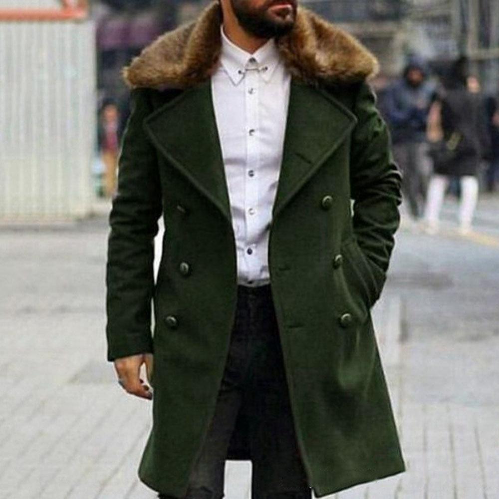 2021 Autumn Winter Solid Color Fashion Fur Collar Long Sleeve Double Breasted Lapel Temperament Simp