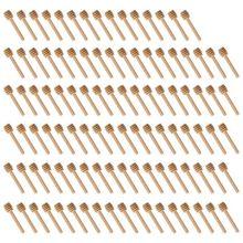 100 Pack Van Mini 3 Inch Houten Honing Dipper Sticks Individueel Verpakt Server Voor Honey Pot Doseer Motregen Honing Bruiloft