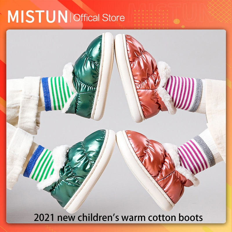 2021 new winter children's cotton shoes thick-soled warm thick boots waterproof outdoor baby shoes b