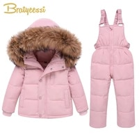 kids down coats jumpsuit winter suit for children outerwear clothing hooded baby snowsuit down jacket for girls boys overalls