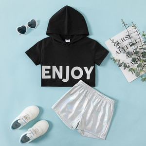 Toddler Girl Letter Hooded Sweatshirt & Shorts Set