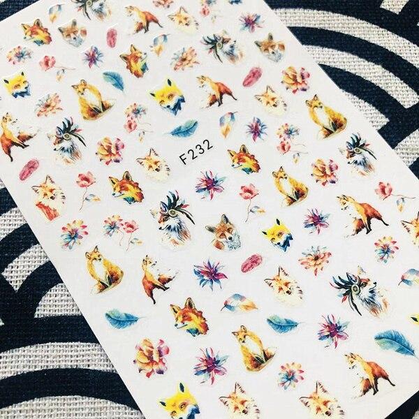 F-232 plus récent fox série F anglais lettre dessins colorés 3d nail art autocollant ongles décalcomanie accessoires