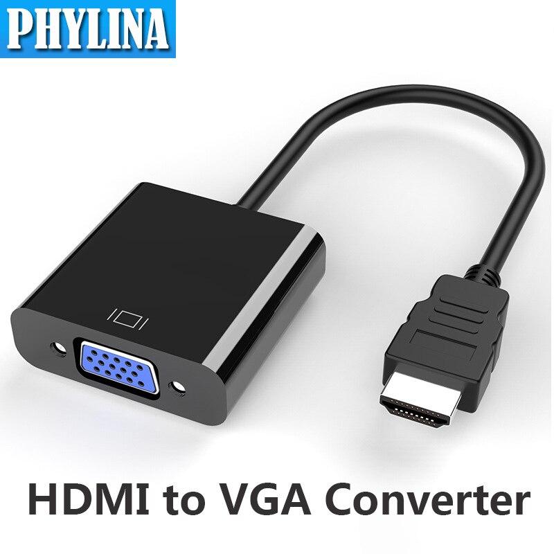 Adaptador HDMI-compatible con VGA, convertidor Digital a analógico, Cable de 1080P para...