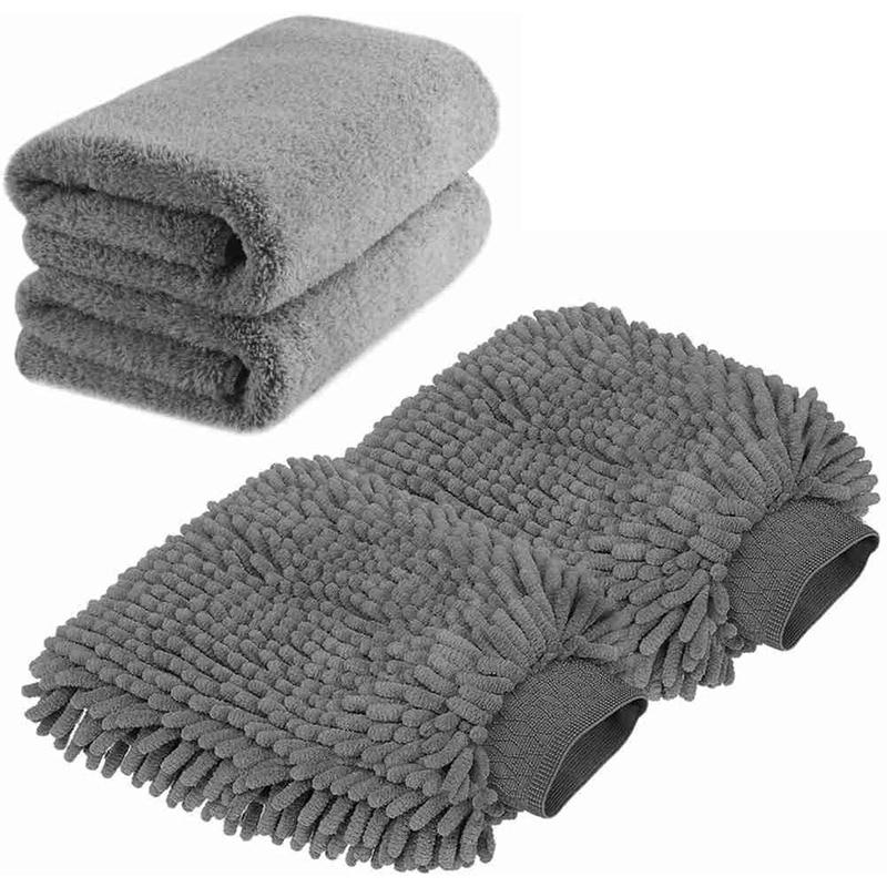 Large Size Car Wash Mitt - Premium Chenille Microfiber Glove and Towels Lint Free Scratch (2X +