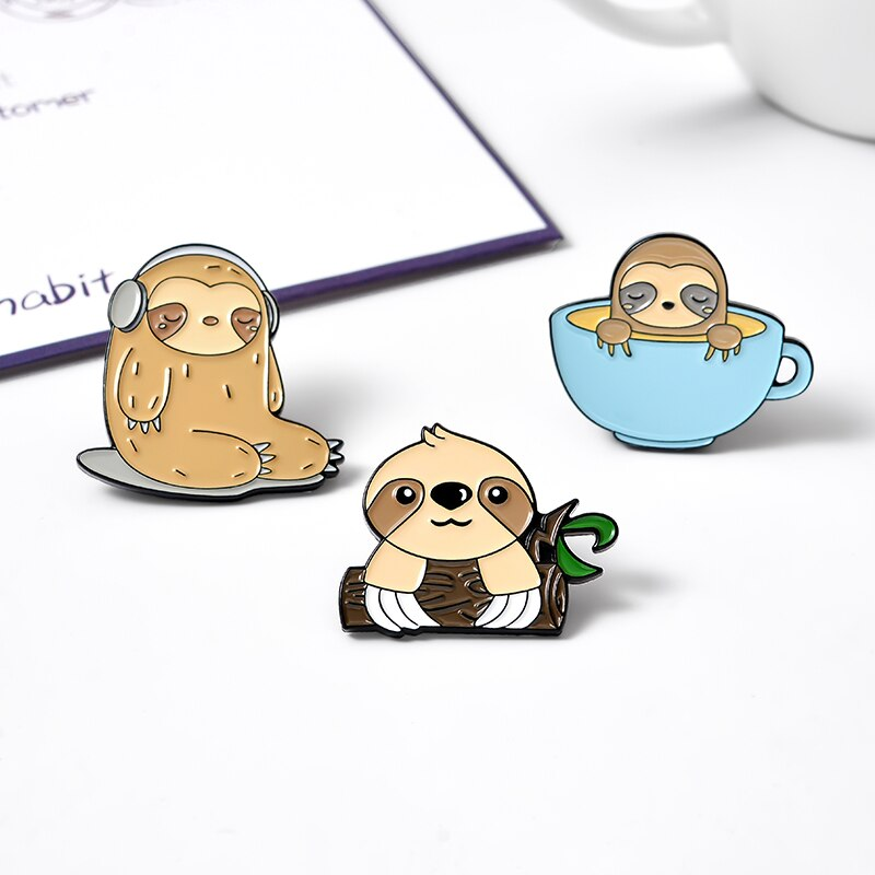Sloth Lovers Enamel Pin Set Listening Music Pink Cake Coffee Tree branch Sloth Collection Badge Lapel Pins Gift For Friends  - buy with discount