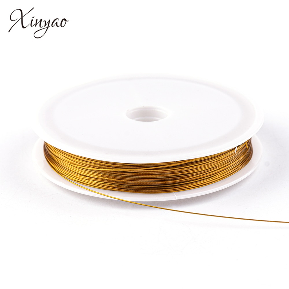 XINYAO 45m/Roll Glod/Steel  Color Stainless Steel Rope String Cord Dia 0.38/0.45/0.6mm For DIY Jewelry Making Findings Materials
