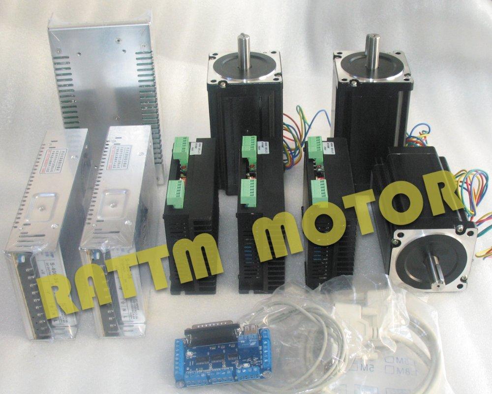 3 axes Nema34 116mm 5A 1230oz-in moteur pas à pas double arbre et CW8060 pilote 6A/80VDC 256 Microstep & 5 axes Kit de CNC de carte dinterface