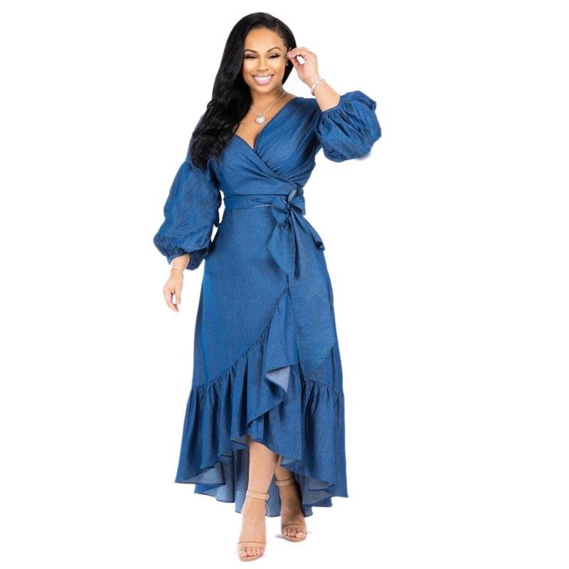 New Blue Women Nine Points Sleeve A Line Ruffle Hem Dress V Neck Lantern