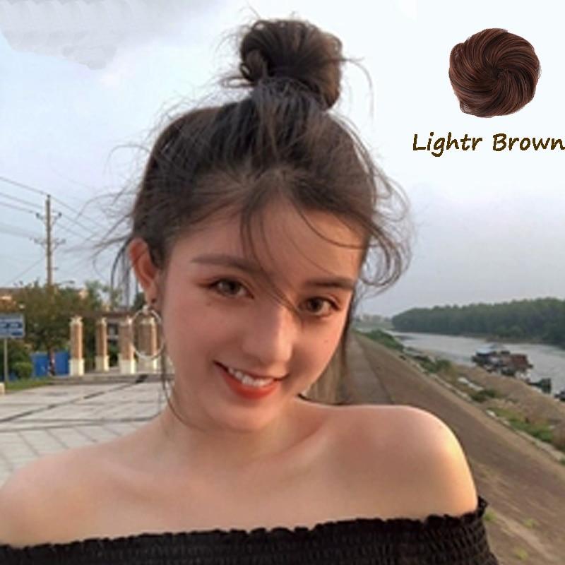 XUANGUANG, moño de pelo liso de fibra química de alta temperatura, Clip de Donut en peluca, negro, marrón, Rojo