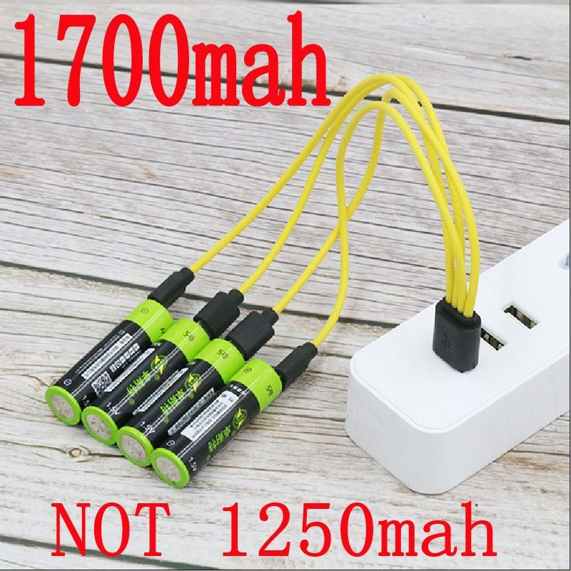 Znter Aa 1.5V 1700 Mah 2550mwh Capaciteit Li-Polymer Usb Oplaadbare Lithium Usb Batterij Usb Kabel