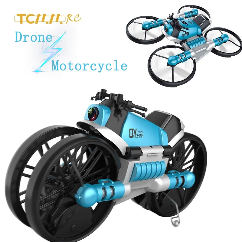 TCMMRC motos drone RC Motorcycle drone Deformed folding WIFI drone 4k aerial quadcopter mini drones