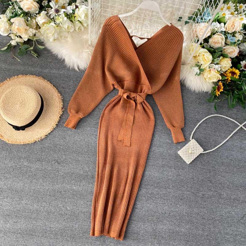 NiceMix Formal Cable de punto Bodycon rodilla-longitud de invierno corbata larga fiesta cuello pico vestido caramelo de talla grande Bow OL naranja de trabajo Slit vestido