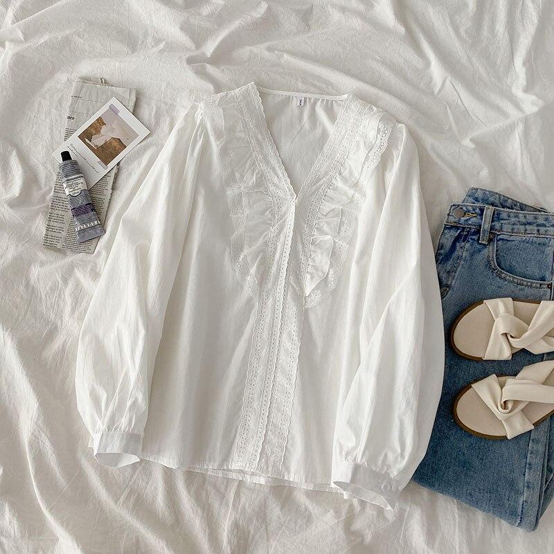 Shirt Women's New Spring Women's Clothes Korean Style Fashionable Stylish White V-Collar Long Sleeve