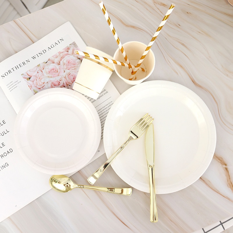 AliExpress - White gold disposable tableware set banquet table decoration paper cup dinner plate straw wedding birthday party supplies