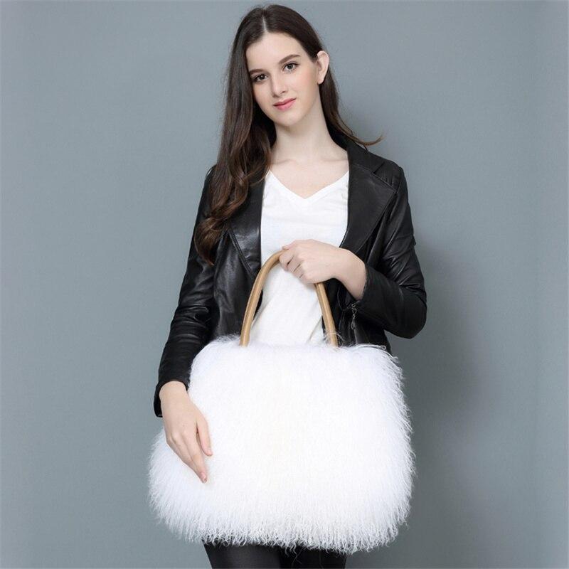 2021 Fashion Fur Handbag Ladies Soft Casual Beach Wool Shoulder Bag Fluffy Female Furry Handbag