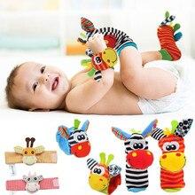 Cartoon Plush Socks Wrist Strap Rattles Baby Toys Wristbands Infant Soft Rattle Set Baby Sensory Foo