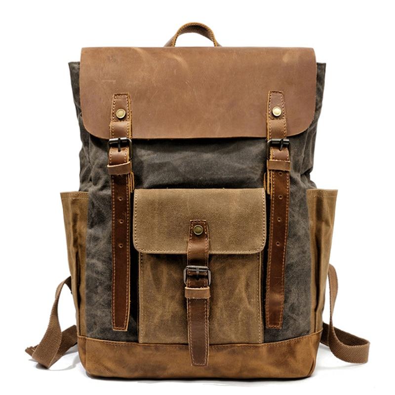 MUCHUAN-حقيبة ظهر من جلد البقر للجنسين مقاومة للماء ، حقيبة كمبيوتر محمول مقاس 15 بوصة ، حقيبة ظهر كبيرة السعة ، نمط عتيق