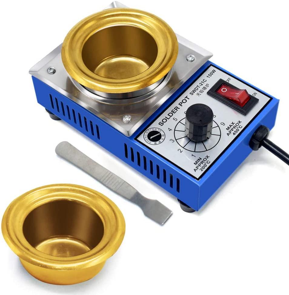 TOAUTO 100MM Solder Pot 300W Tin Soldering Melting Pot Tin Melting Furnace Thermoregulation Soldering Desoldering Bat