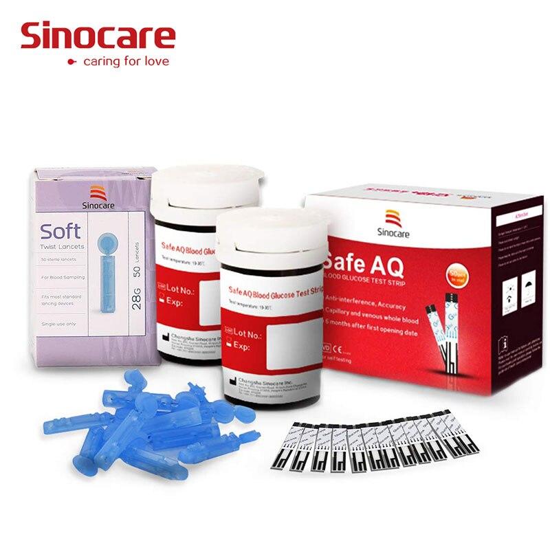 (50/100 pces para aq seguro) agulhas das tiras do teste de glicose no sangue do sinocare
