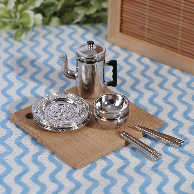 1 Set 1:12 Scale Dollhouse Mini Kitchen Set Kettle+2pcs Plates+2pcs bowls+2pair Chopsticks Pretend Play Toys