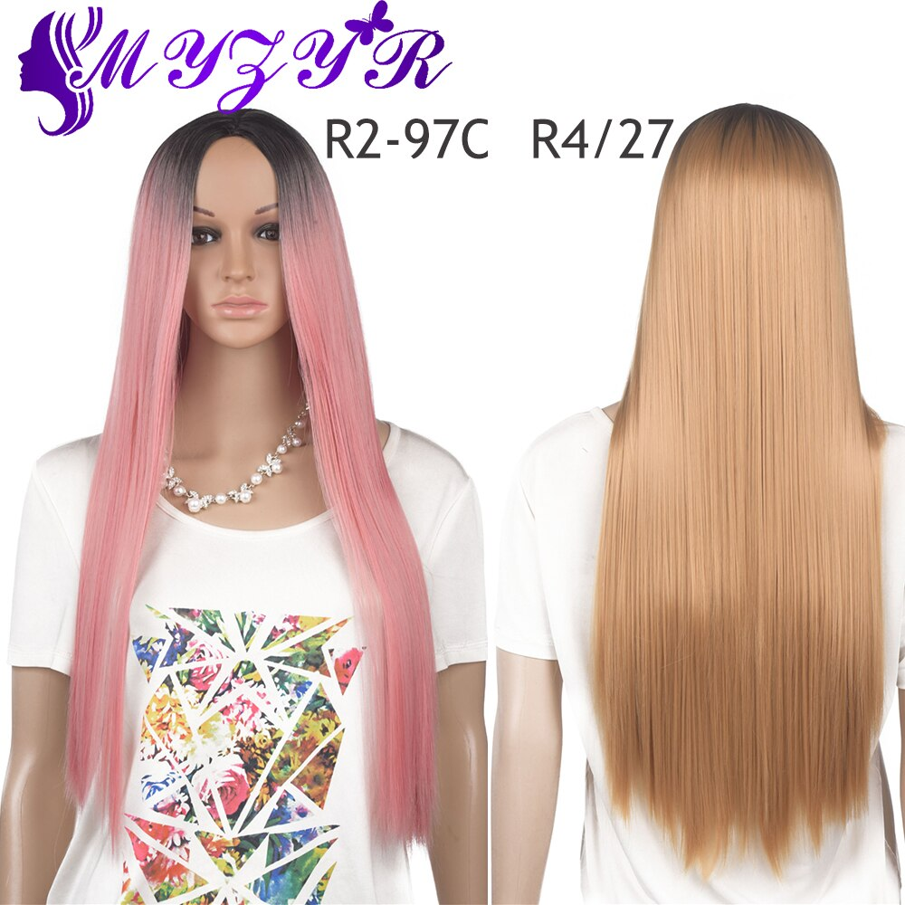 ZYR Long Straight Wig Ombre For Women High Temperature Fiber Wigs Black-Pink Black-Blonde 30 Inches 350 g New store opened