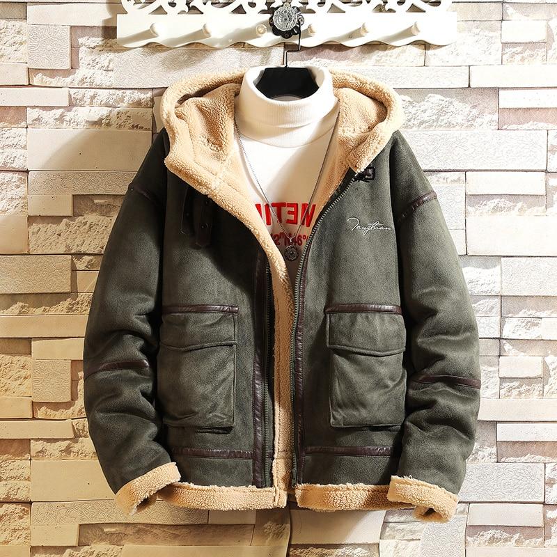 men Autumn winter Hooded Lamb jacket jacket leather The jacket coat Men Thicken Plush Short Coat Male Streetwear Cotton Clothes