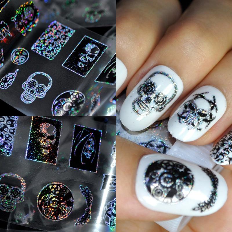 1 Vel Halloween Skeletten Nail Stickers Goud Dream Star Sticker Catcher Nail Stickers 3D Sticker Decals
