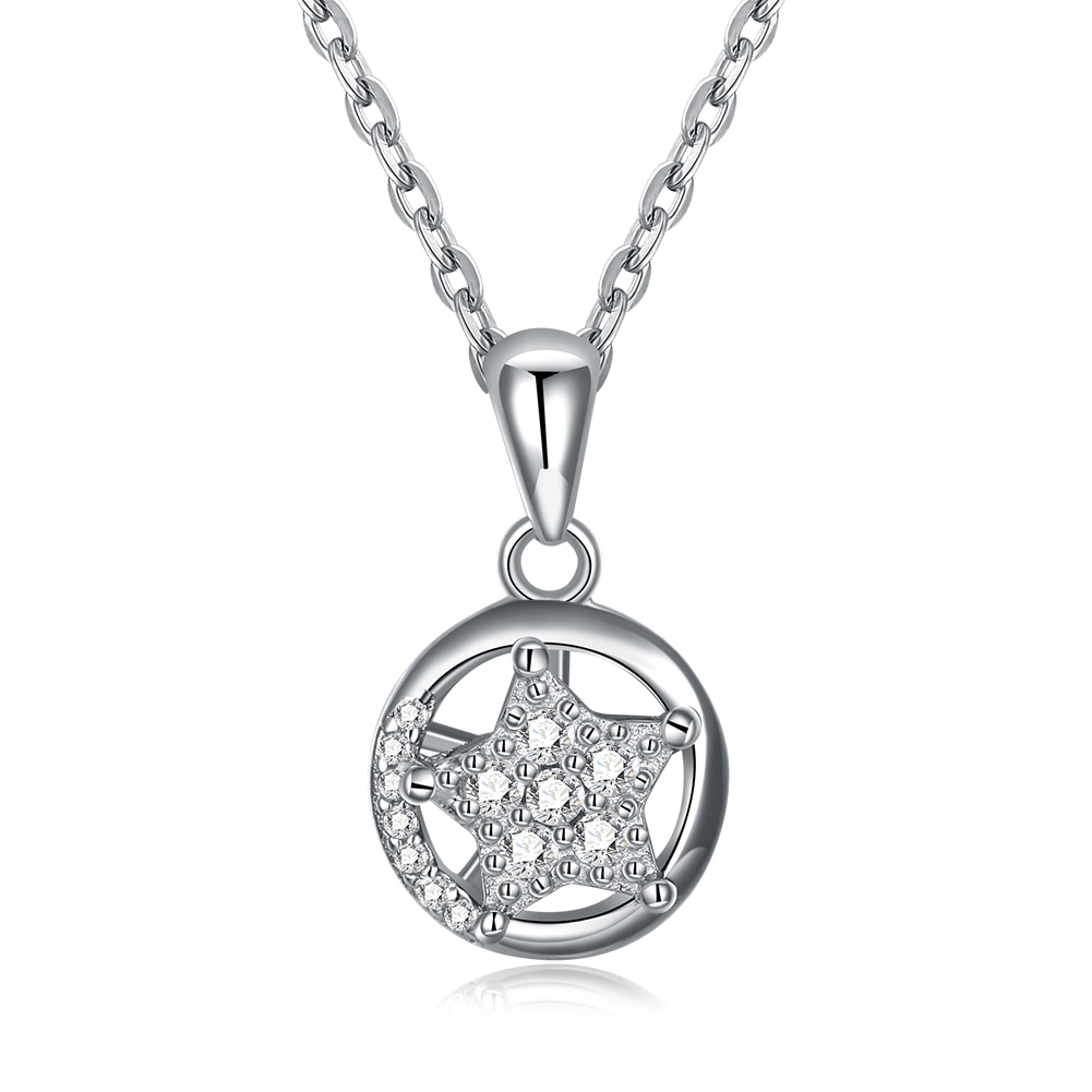 SILVERHOO Shining Star Necklace Pendant Trendy 5A+ Zircon Circle Necklaces For Women Sterling Silver