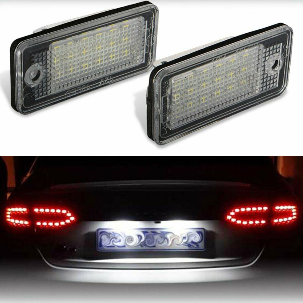 2 uds., luces para matrícula de coche superbrillantes con 18 ledes, luz de matrícula libre de errores para Audi A3 A4 A5 A6 A8 B6 B7 Q7