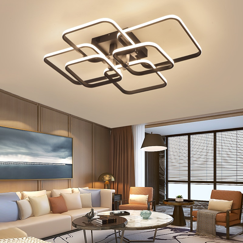 NEO Gleam Rectangle Acrylic Aluminum Modern Led ceiling lights for living room bedroom AC85-265V White Ceiling Lamp Fixtures  - buy with discount