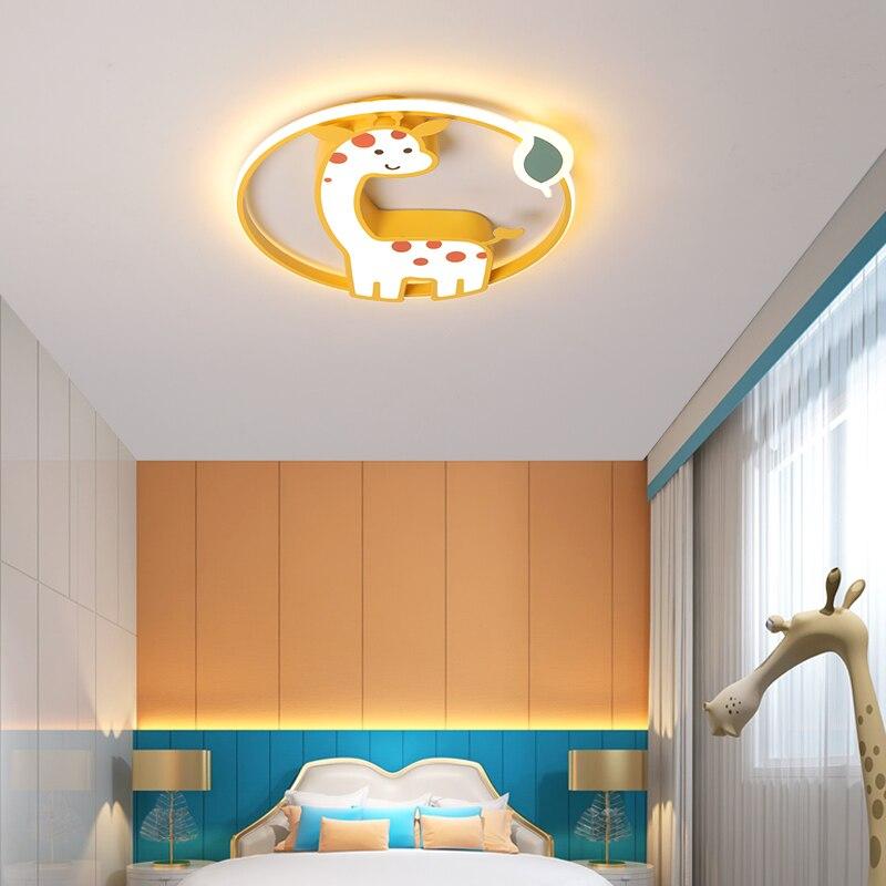 LED pour enfants plafonniers chambre à coucher lumière avec télécommande étude lumière acrylique lumière enfant plafonnier girafe lumière